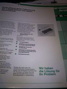 Blatt aus einer Werbebroschüre zur TA10