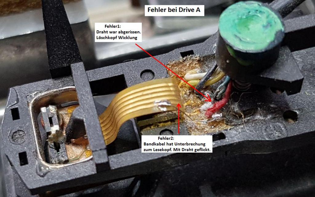 Detailaufnahme des Kopfschnittens mit den kaputten Kabeln und Verbindungen