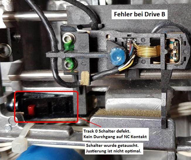 Detailaufnahme des Schalters im zweiten Laufwerk