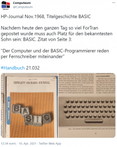 Bildschirmfoto eines Tweets über eine Veröffentlichung zu HP